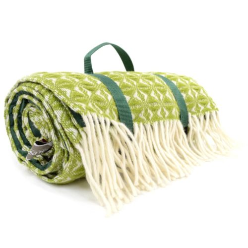 Family Size Wool Waterproof Picnic Blanket - Fern Green