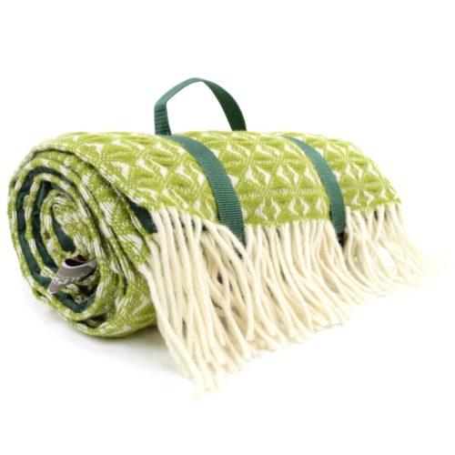 Family Size Wool Waterproof Picnic Blanket - Fern Green