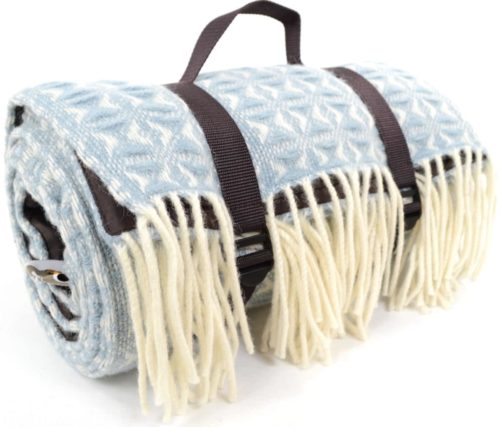 Family Size Wool Waterproof Picnic Blanket - Sky Blue