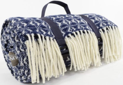 Family Size Wool Waterproof Picnic Blanket - Navy Blue