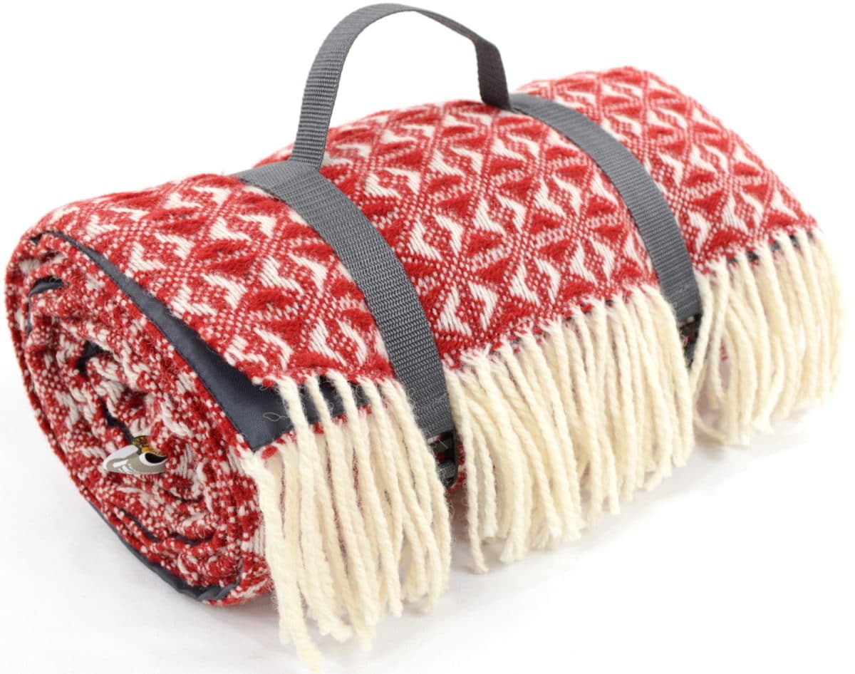 Family Size Wool Waterproof Picnic Blanket - Red
