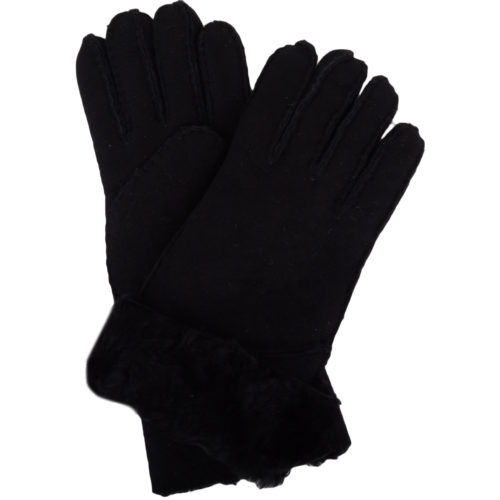 Vicky - Full Sheepskin Glove Long Fold Back Cuff - Black