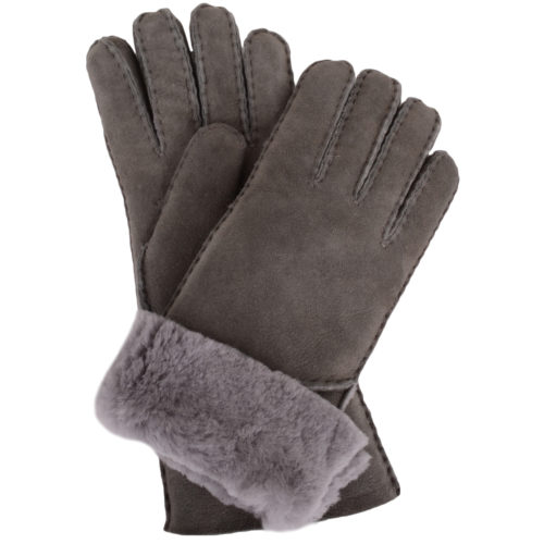 Vicky - Full Sheepskin Glove Long Fold Back Cuff - Grey