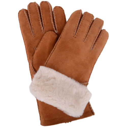 Vicky - Full Sheepskin Glove Long Fold Back Cuff - Tan