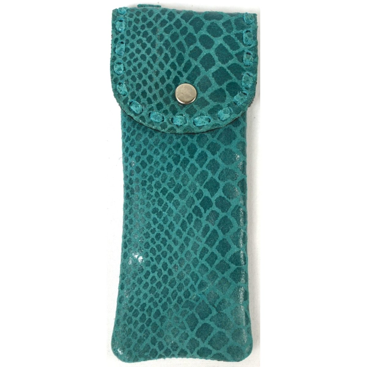 Mia - Ladies Leather Glasses Case - Green Snake Effect