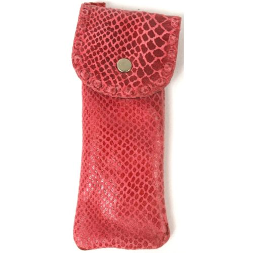 Mia - Ladies Leather Glasses Case - Pink Snake Effect