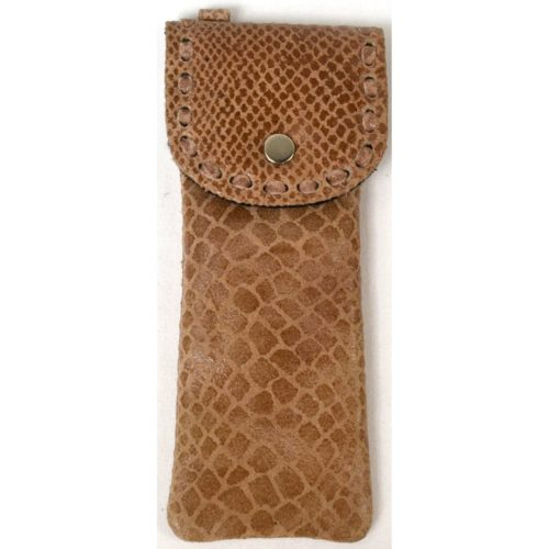 Mia - Ladies Leather Glasses Case - Brown Snake Effect