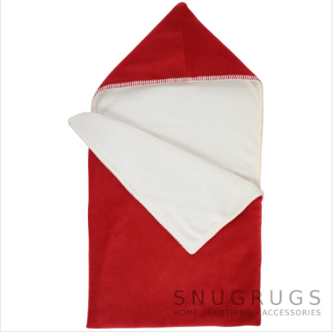 Luxury Fleece Reversible Hooded Cocoon / Sack - Red