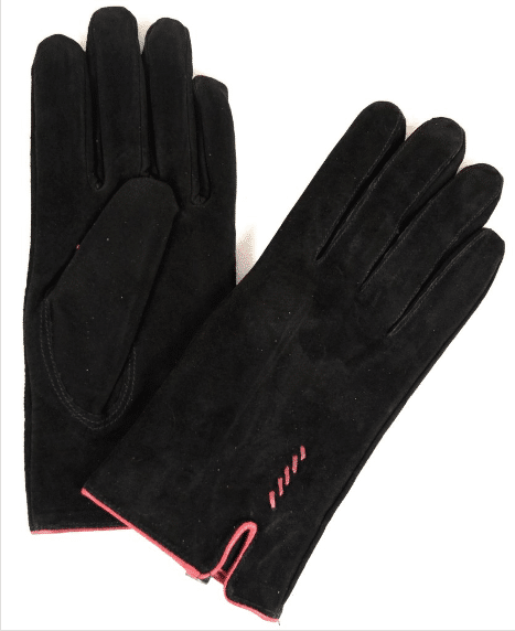 Suede Gloves Fleece Lining and Stitch Design - Black