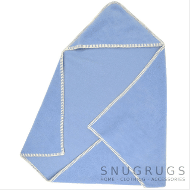 Luxury Fleece Reversible Hooded Wrap / Blanket - Blue