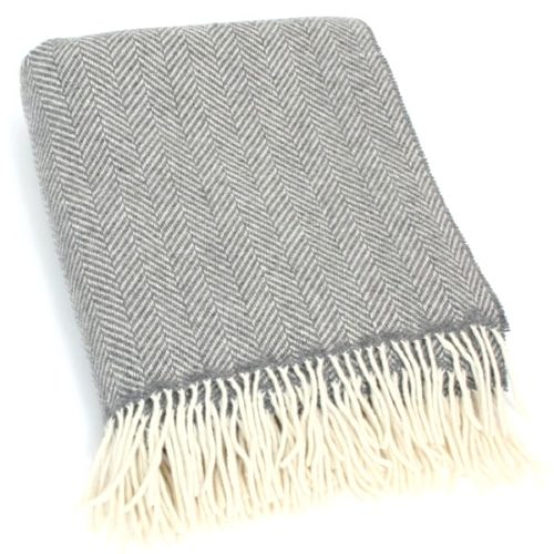 Merino Cashmere Blanket / Throw - Grey Herringbone