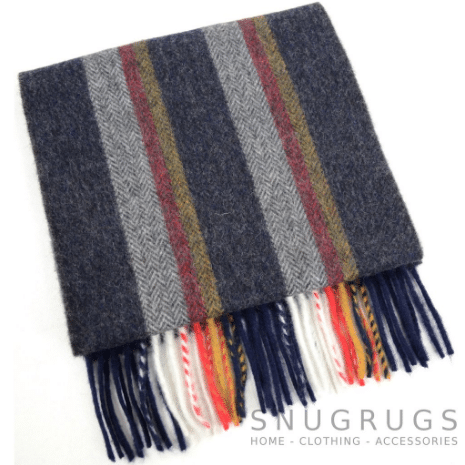Extra Long Lambswool Scarf - Blue & Grey