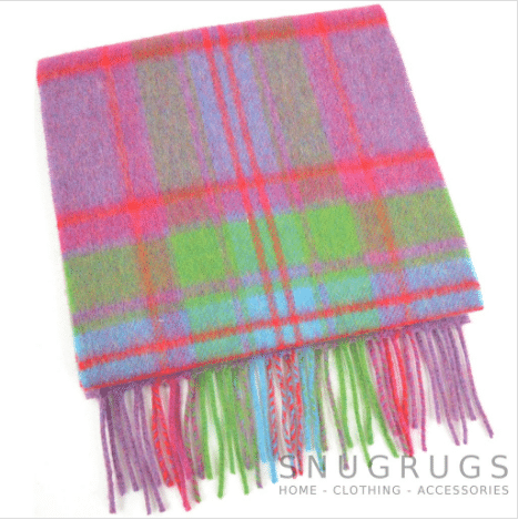 Extra Long Lambswool Scarf - Pink & Green