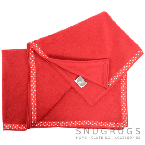 Luxury Fleece Throw / Pram Blanket - Red
