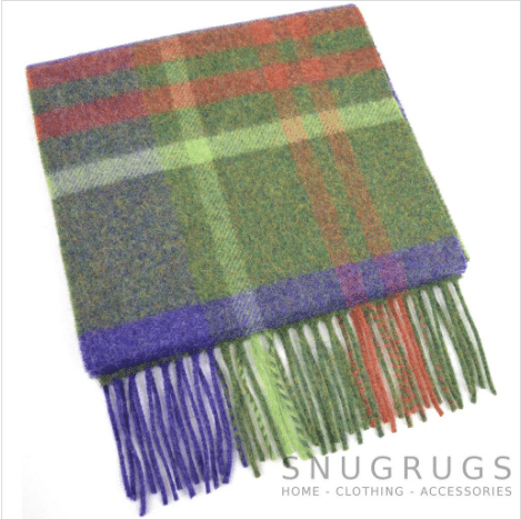 Extra Long Lambswool Scarf - Green & Blue