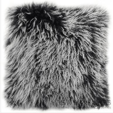 Snugrugs Mongolian Sheepskin Cushion 40cm x 40cm – Black/White