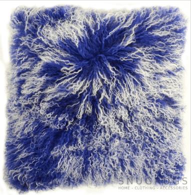 Snugrugs Mongolian Sheepskin Cushion 40cm x 40cm – Blue/White