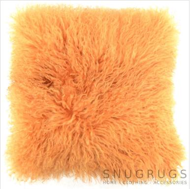 Snugrugs Mongolian Sheepskin Cushion 40cm x 40cm – Caramel