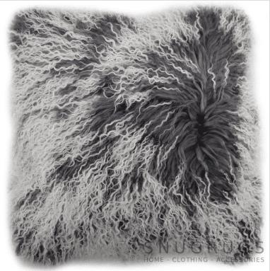 Snugrugs Mongolian Sheepskin Cushion 40cm x 40cm – Grey/White