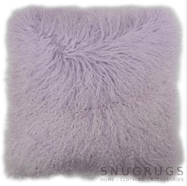 Snugrugs Mongolian Sheepskin Cushion 40cm x 40cm – Lila