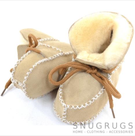 Baby Full Sheepskin Lace Up Booties - Beige