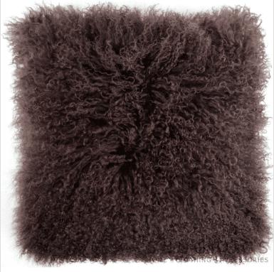 Snugrugs Mongolian Sheepskin Cushion 40cm x 40cm – Chocolate Brown
