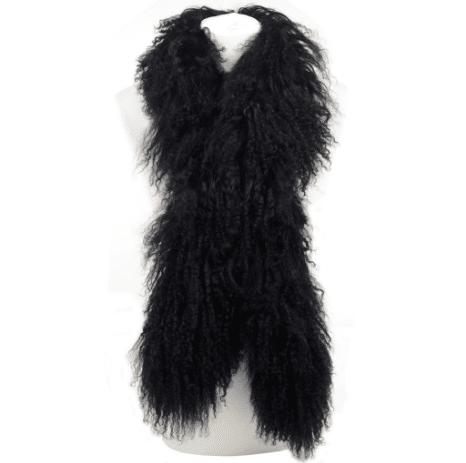 Mongolian Sheepskin Scarf - Black