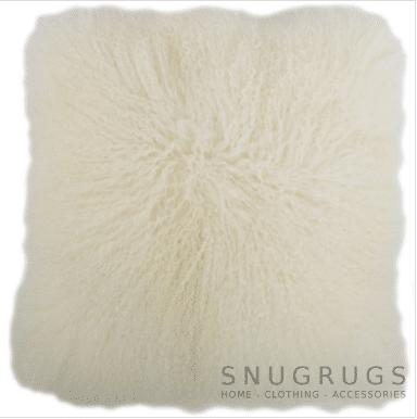 Snugrugs Mongolian Sheepskin Cushion 40cm x 40cm – Ivory