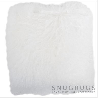 Snugrugs Mongolian Sheepskin Cushion 60cm x 60cm – White