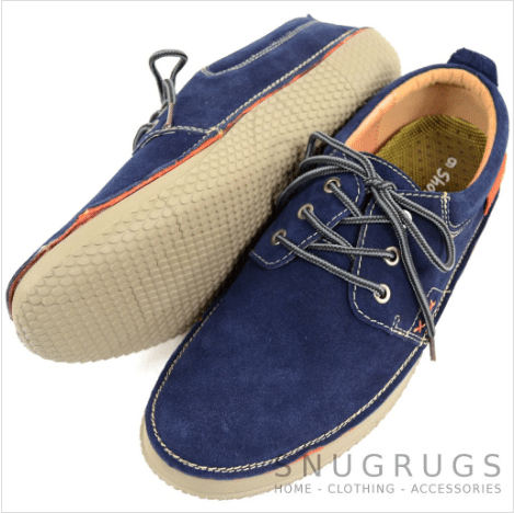 Leather Slip On Summer Shoes - Navy