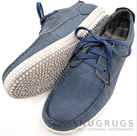 Leather Suede Casual Deck Shoes - Blue