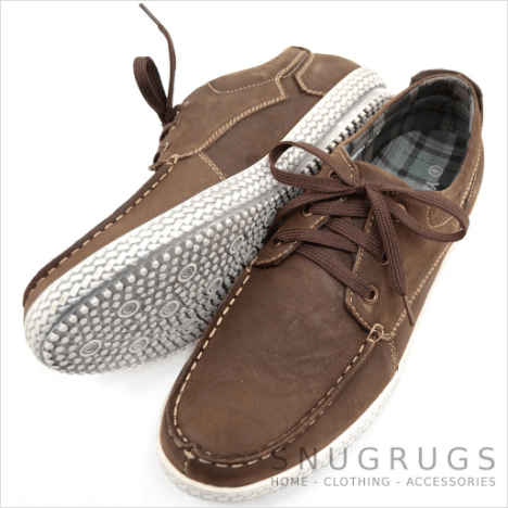 Leather Suede Casual Deck Shoes - Brown