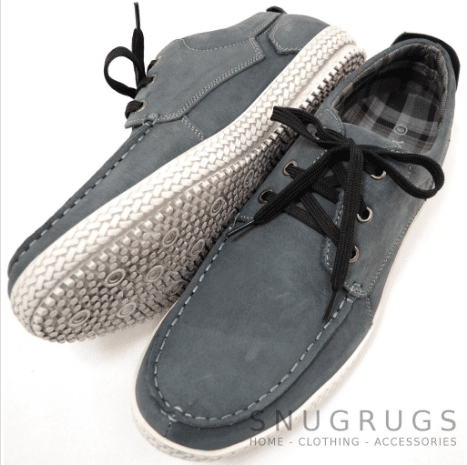 Leather Suede Casual Deck Shoes - Grey