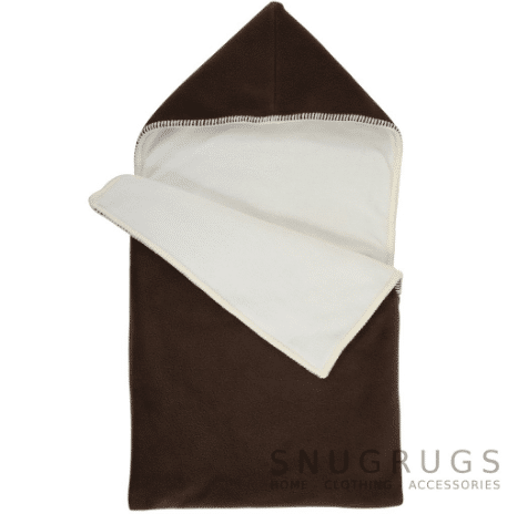 Luxury Fleece Reversible Hooded Cocoon / Sack - Brown