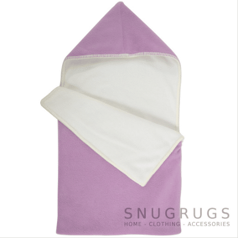 Luxury Fleece Reversible Hooded Cocoon / Sack - Lilac