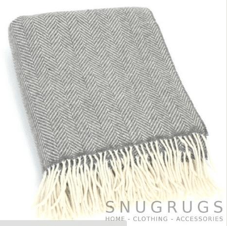 Merino Cashmere Blanket / Throw - Grey Herringbone