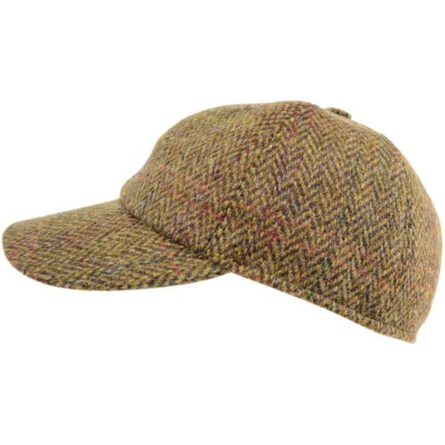 Tweed Baseball Cap - Light Brown - Flap Up