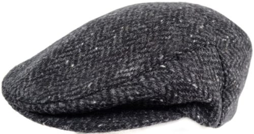Tweed Shooting Flat / Peak Cap - Charcoal Herringbone
