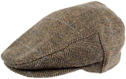 Tweed Shooting Flat / Peak Cap - Beige/Brown Herringbone