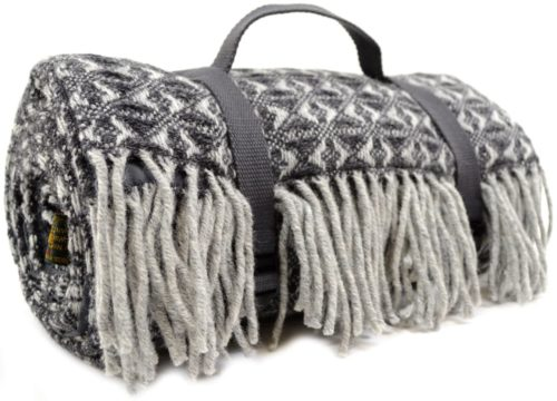 Family Size Wool Waterproof Picnic Blanket - Charcoal Grey