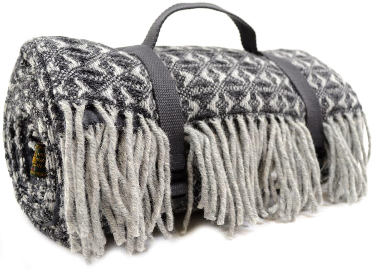 Family Size Wool Waterproof Picnic Blanket - Charcoal Grey