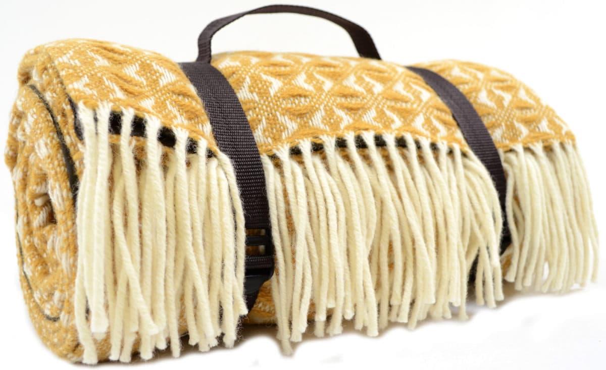 Family Size Wool Waterproof Picnic Blanket Mustard