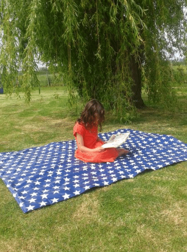 Oil Cloth Water Resistant Huge Family Picnic Blanket - Navy Stars