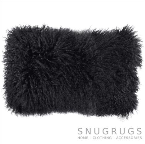 Snugrugs Mongolian Sheepskin Cushion 30cm x 50cm - Black