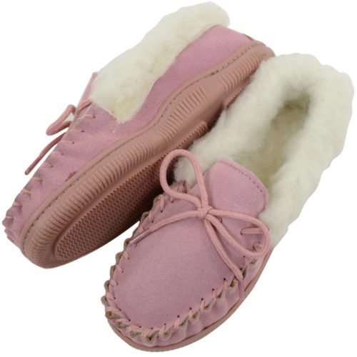Kids Wool Lined Moccasins - Pink