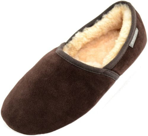 Harry Snugrugs Mens Sheepskin Slipper Brown