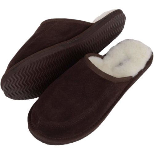 Snugrugs - Mens Wool Lined Mule Slippers - Brown