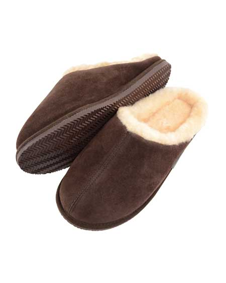 Newbury Mens Mule Sheepskin Slipper Brown