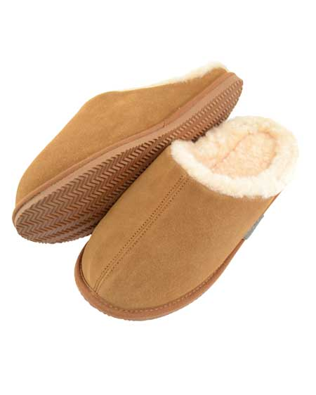 Newbury Mens Mule Sheepskin Slipper Chestnut