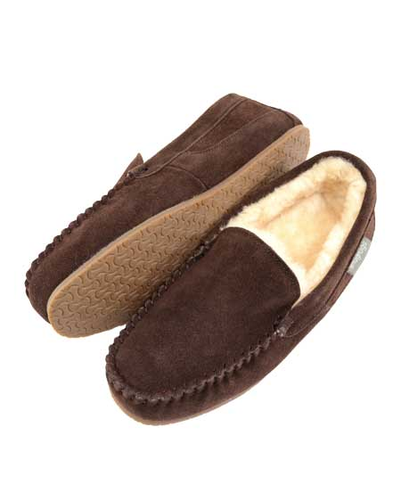 Samuel Mens Sheepskin Slippers Choc